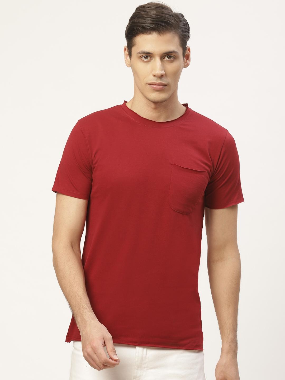 PAUSE SPORT Men Maroon Solid Round Neck T shirt
