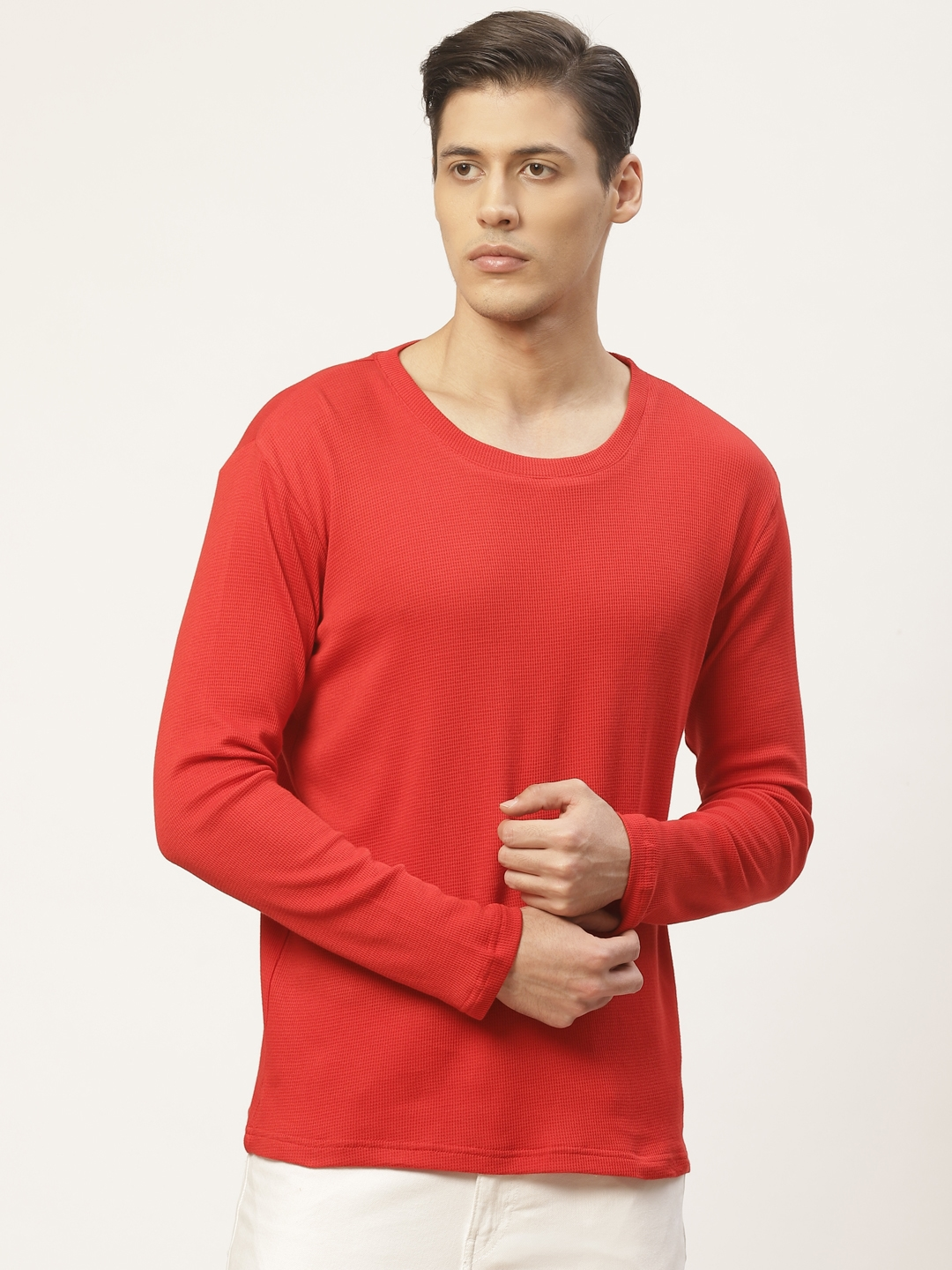 PAUSE SPORT Men Red Self Design Round Neck T shirt