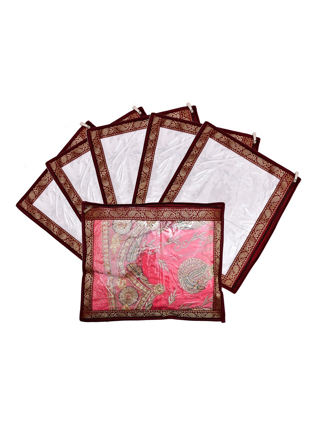 Kuber Industries Set Of 6 Maroon   Transparent Single Packing Saree Cover Organizers
