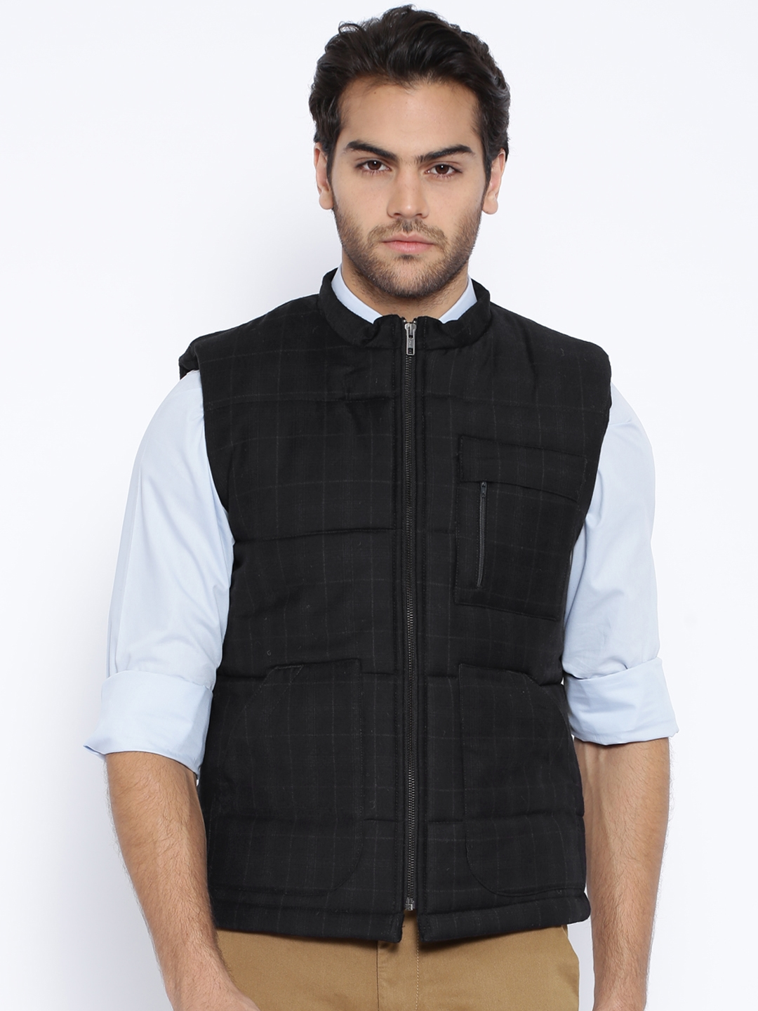 9ce6f9f7957f1f Buy Theme Black Checked Woollen Sleeveless Padded Jacket - Jackets ...