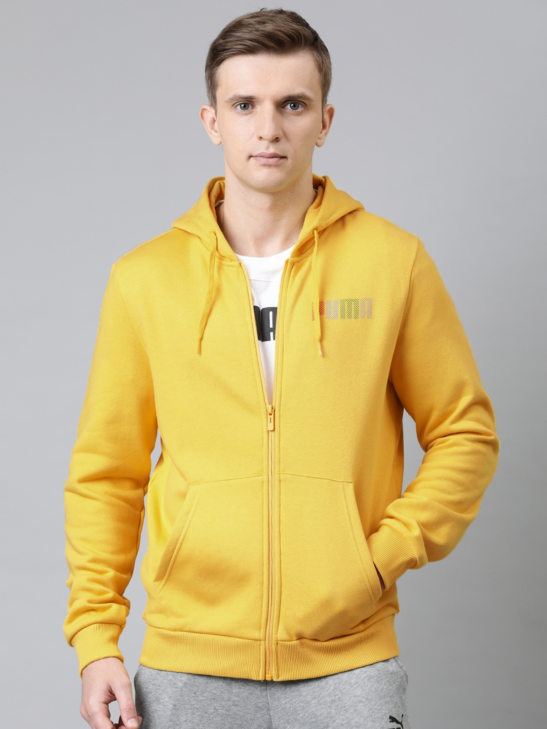 Puma Men Yellow Solid Knitted Hooded Sweatshirts