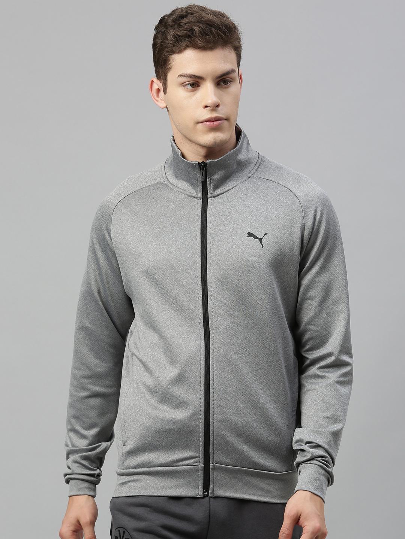 Puma Men Grey Solid Poly Full Zip Sweatshirt