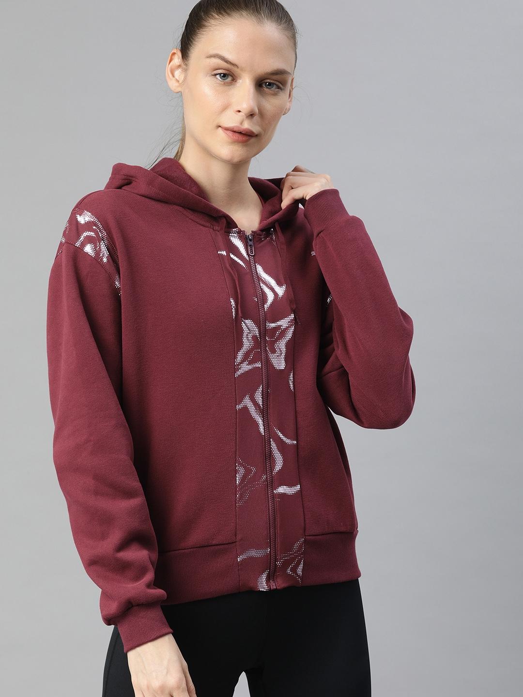Puma Women Burgundy Solid Train Metallic Full Zip Sweatshirt
