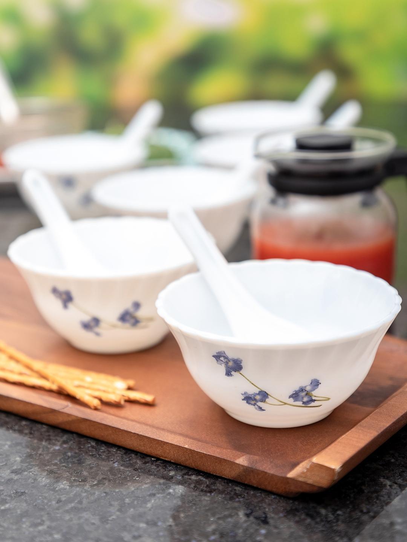 Laopala White   Blue Printed 12 Pieces Opalware Soup Bowls   Spoons Set