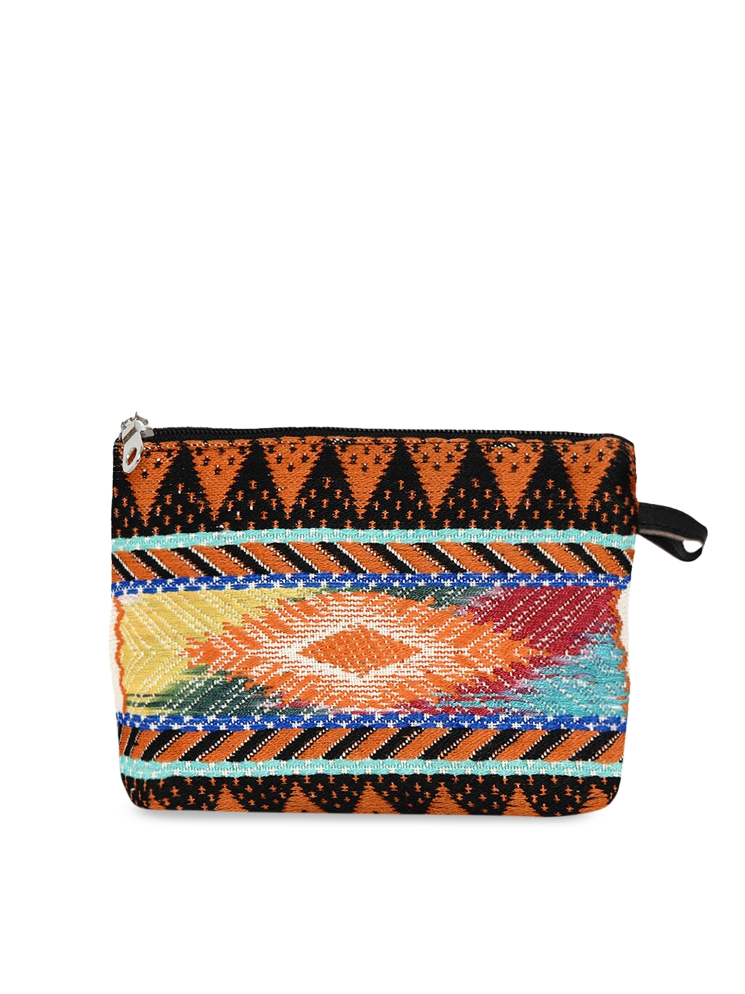 Anekaant Women Orange   Black WovenDesign Cosmetic Pouch