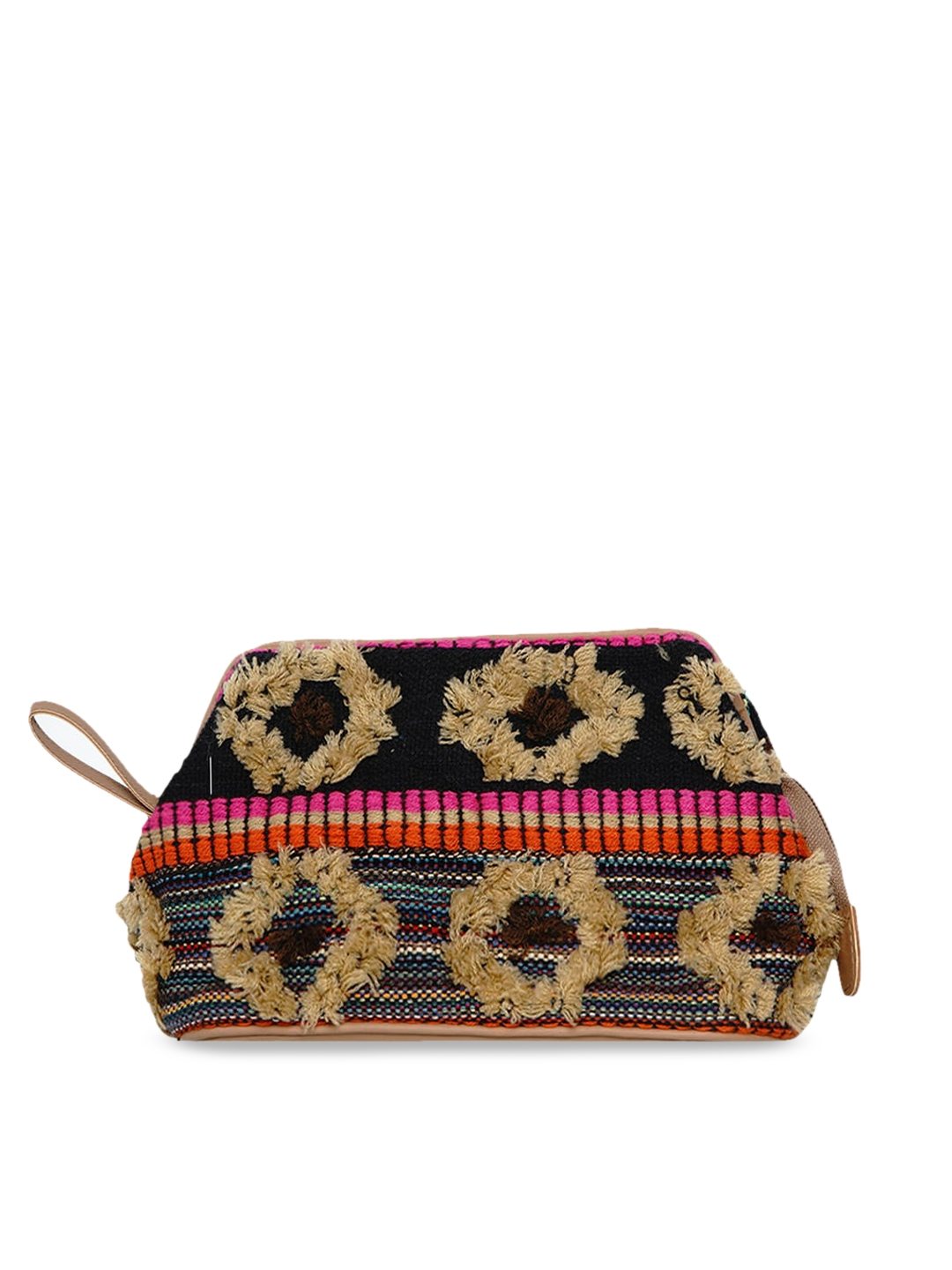 Anekaant Women Brown   Black Fleecy Cosmetic Pouch