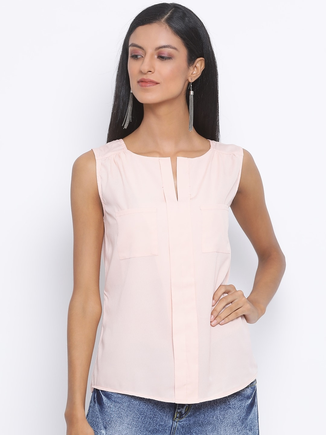 Oxolloxo Women Pink Solid Sleeveless Top