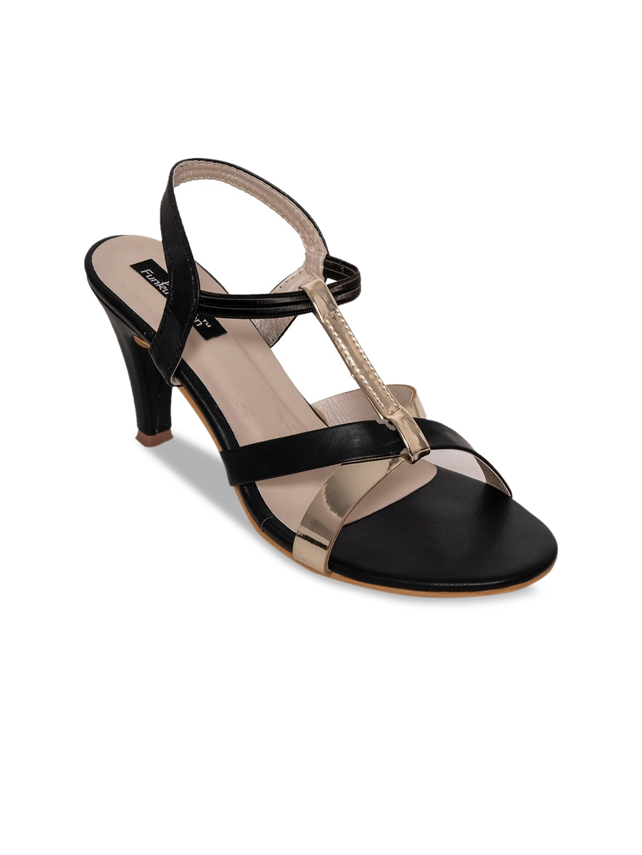 Funku Fashion Women Black   Beige Colourblocked Heels