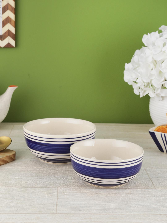 VarEesha Set Of 2 Blue   White Printed Ceramic Bowls