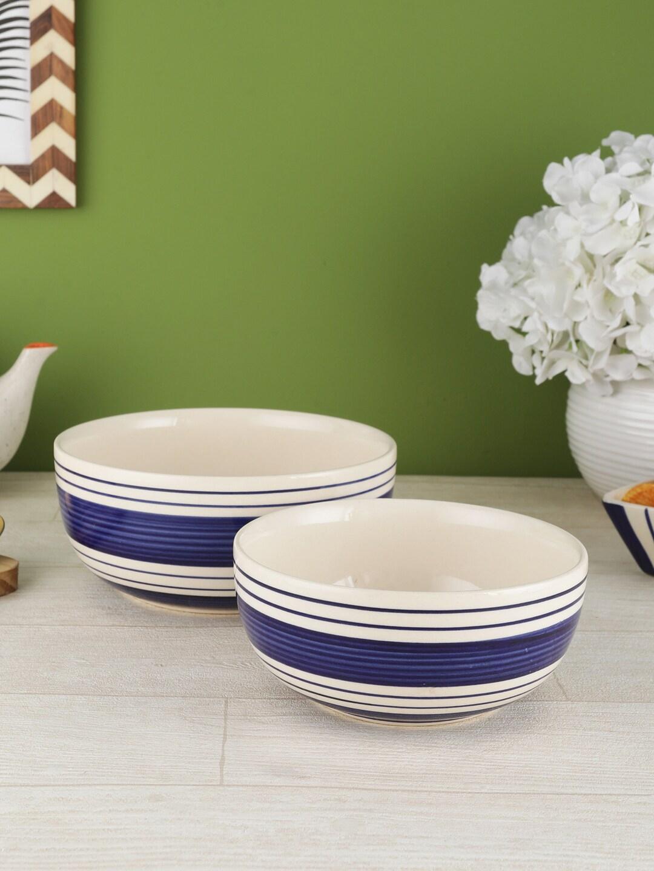 VarEesha Navy Blue   White 2 Pieces Printed Ceramic Bowls Set