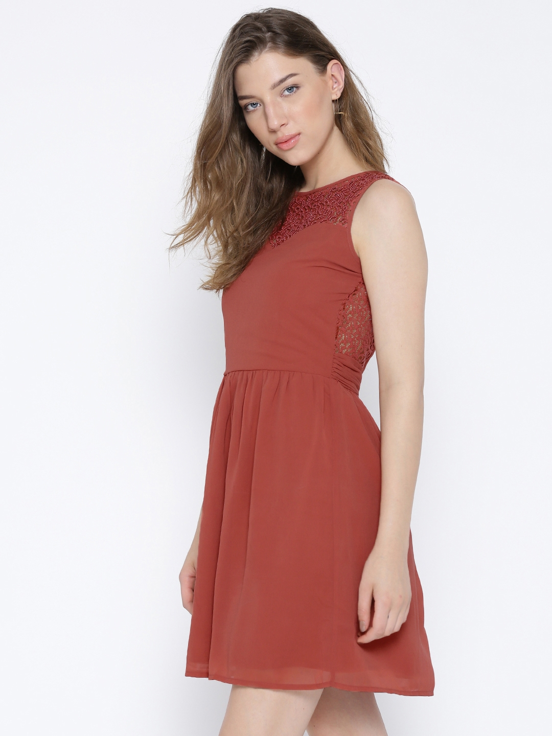 Buy ONLY Rust Brown Fit   Flare Dress - Dresses for Women 1239910 ... 8159a8bcba11