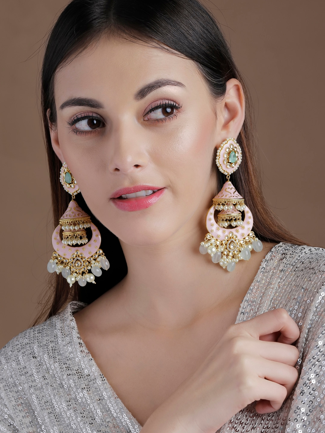 rubans LUXURY 22Kt Gold Plated   White Enamel Chandbali Earrings