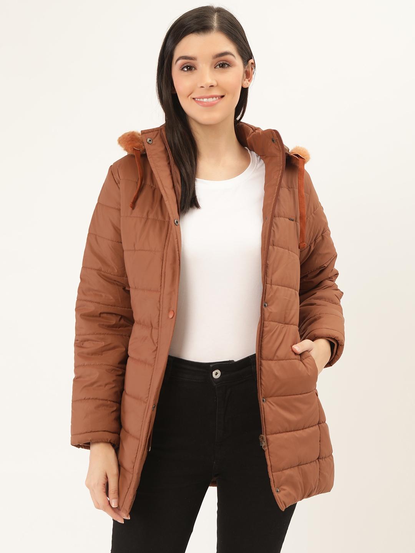 Okane Women Brown Solid Hooded Parka Jacket
