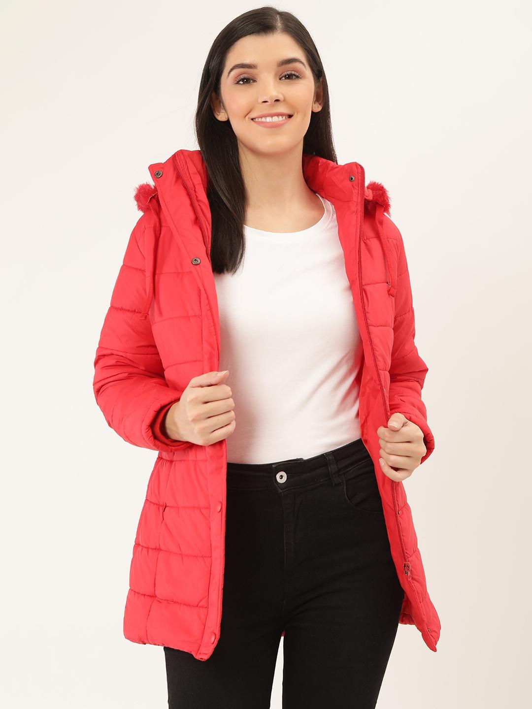 Okane Women Red Solid Hooded Parka Jacket