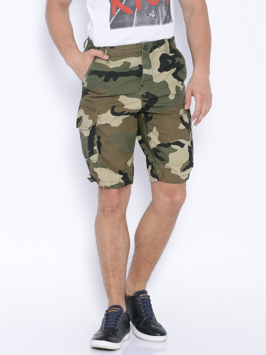08e3219f51ac3 Buy Jack & Jones Green Camouflage Print Cargo Shorts - Shorts for ...