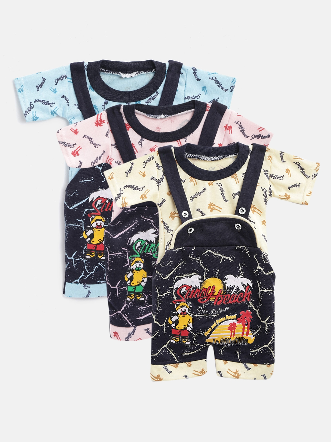 MANZON Kids Pack Of 3 Multicoloured Printed Clothing Sets