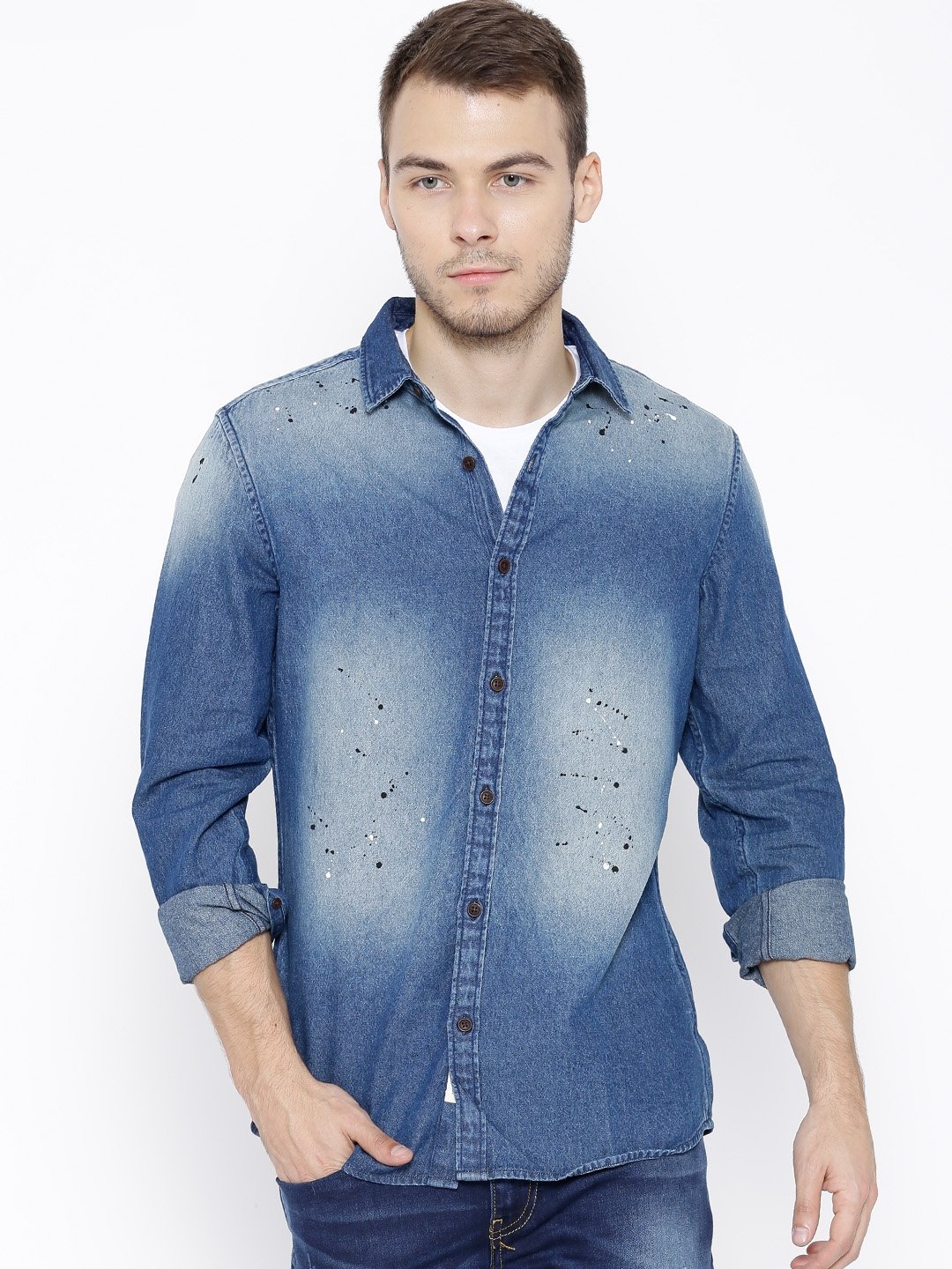 Buy United Colors Of Benetton Blue Washed Denim Shirt - Shirts for ... 2a941feb3e7