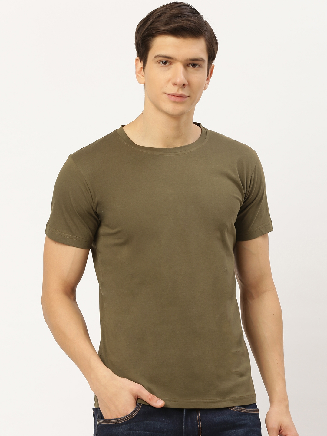 THE CHAMBAL Men Olive Green Solid Round Neck T shirt
