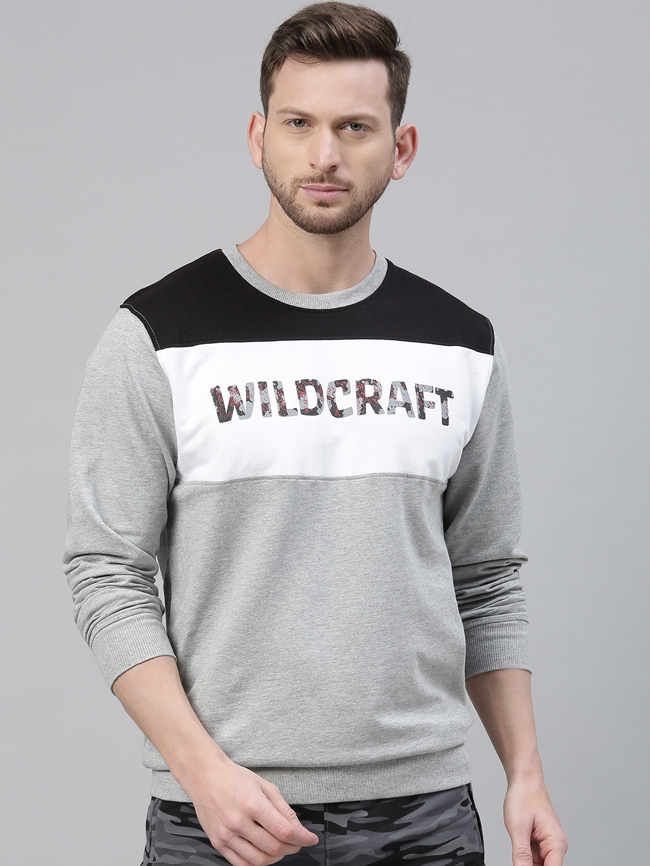 Wildcraft Men White   Grey Melange Printed Sweatshirt