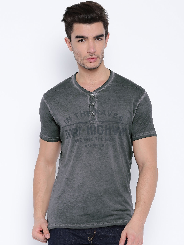 d72231a0 Buy Wrangler Grey Printed Henley T Shirt - Tshirts for Men 1253013 ...