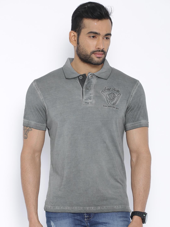 84ddbf2b Buy Wrangler Grey Washed Polo T Shirt - Tshirts for Men 1253020 | Myntra