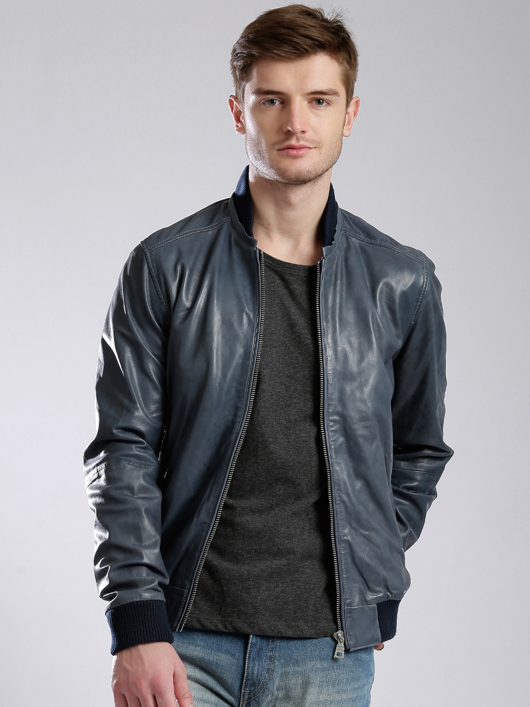online sale excellent quality attractive & durable GAS Blue Leather Slim Fit Jacket