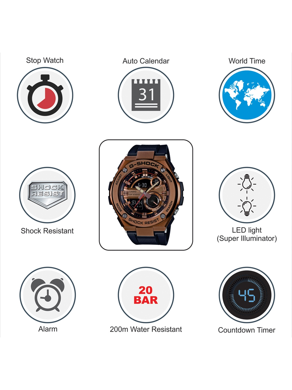 44bc670701419 Buy CASIO G Shock Men Black   Copper Toned Dial Analogue Digital ...