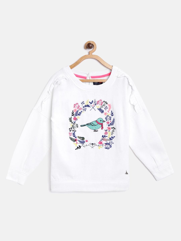 Cherry Crumble Girls White Pigeon Embroidered Sweatshirt