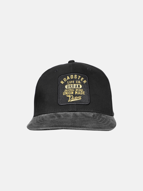 Roadster Unisex Black Embroidered Snapback Cap
