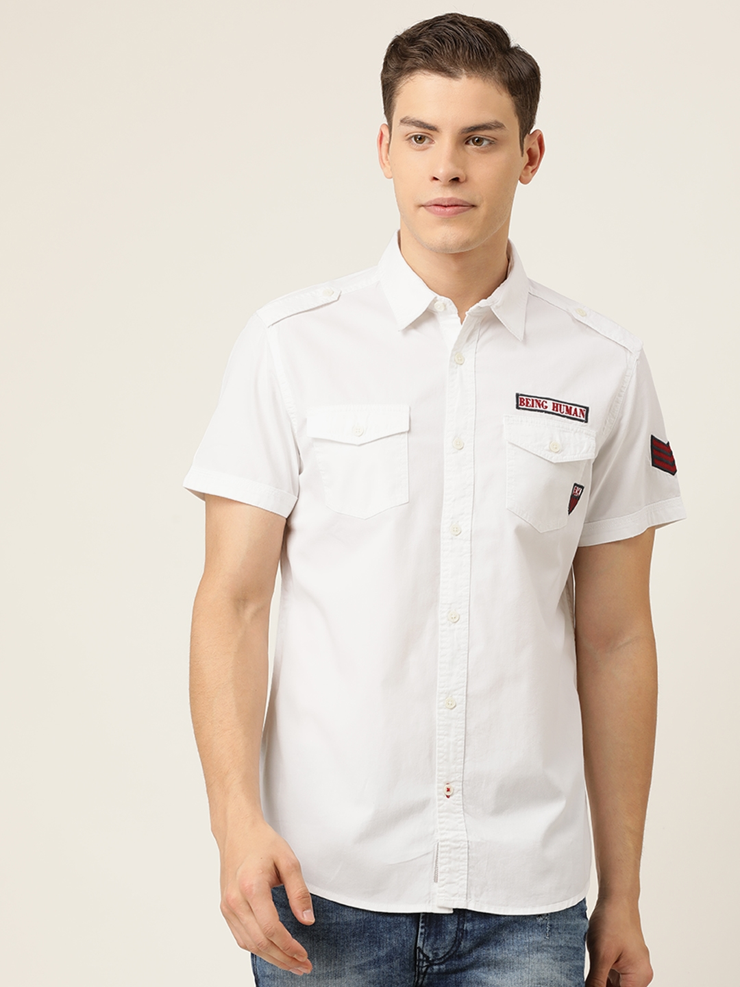 Being Human Men White Slim Fit Solid Casual Shirt