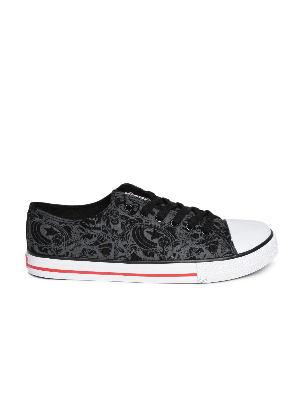 f8013bba26d8 Buy Kook N Keech Marvel Unisex Black & Grey Printed Sneakers ...