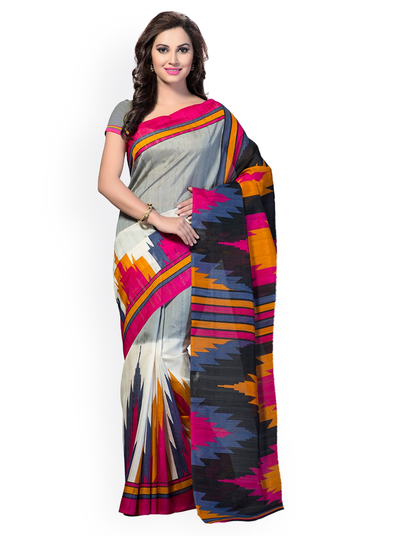 c73654b78 Buy Ishin Grey Bhagalpuri Art Silk Printed Saree - Sarees for Women ...