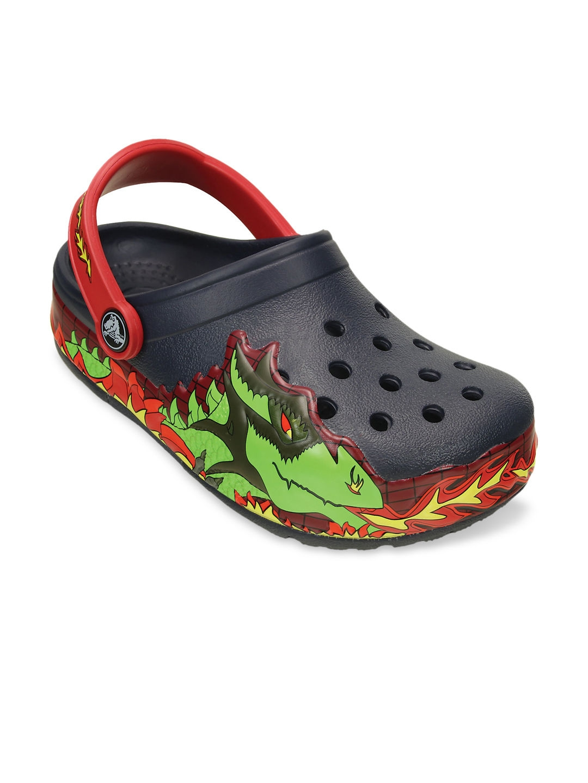08df2971199112 Buy Crocs Boys Black Printed Clogs With LED Lights - Flip Flops for ...