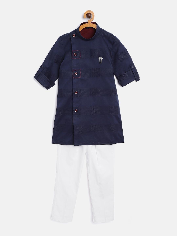 Readiprint Fashions Boys Navy Blue   White Self Design Angrakha Kurta with Solid Pyjamas