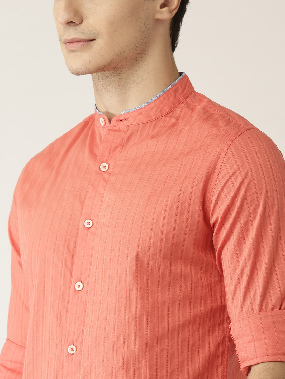 Buy United Colors Of Benetton Men Coral Orange Self Striped Casual