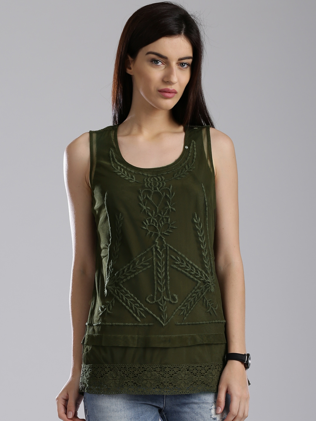 327bd48c8b Buy GAS Olive Green Semi Sheer Embroidered Polyester Top - Tops for ...