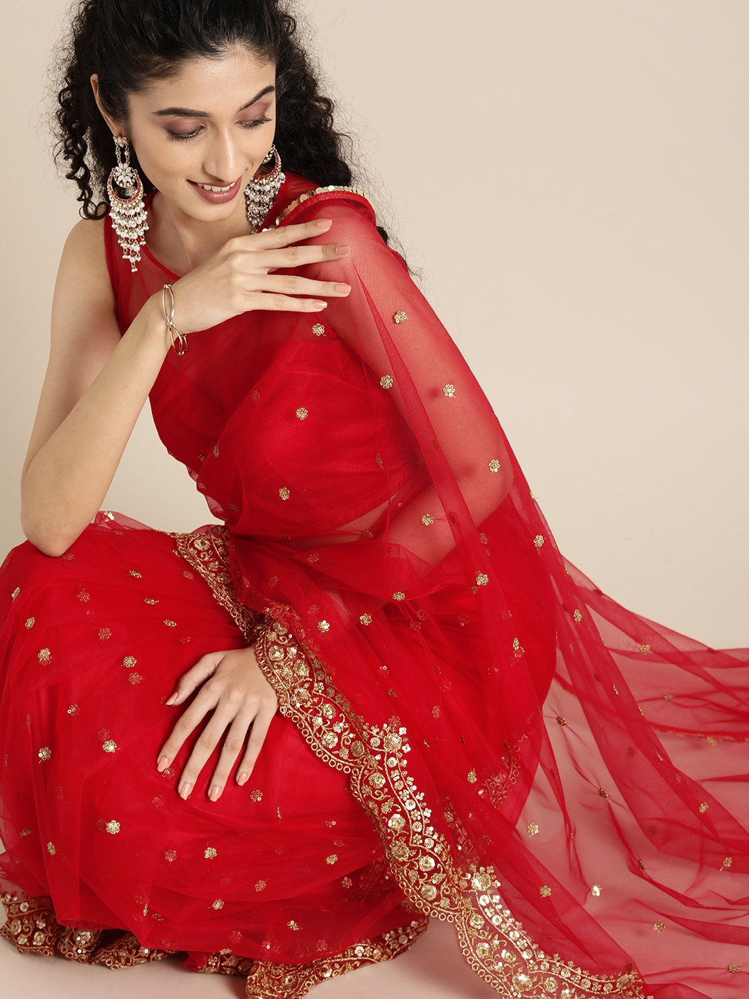 Buy Inddus Red & Gold Toned Net Embroidered Saree - Sarees for Women  12631360   Myntra