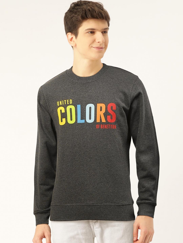 United Colors of Benetton Men Charcoal Grey Printed Sweatshirt