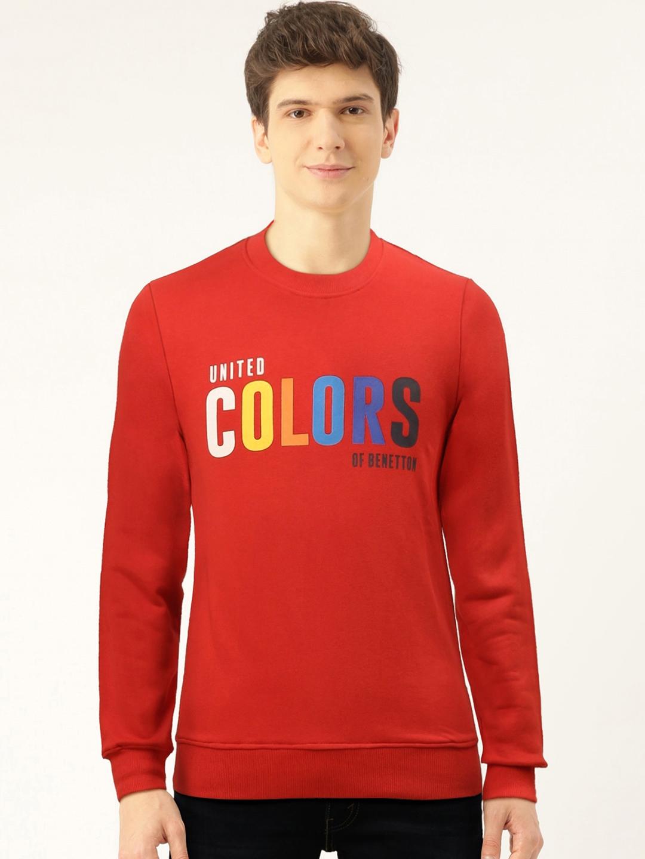 United Colors of Benetton Men Red Printed Sweatshirt