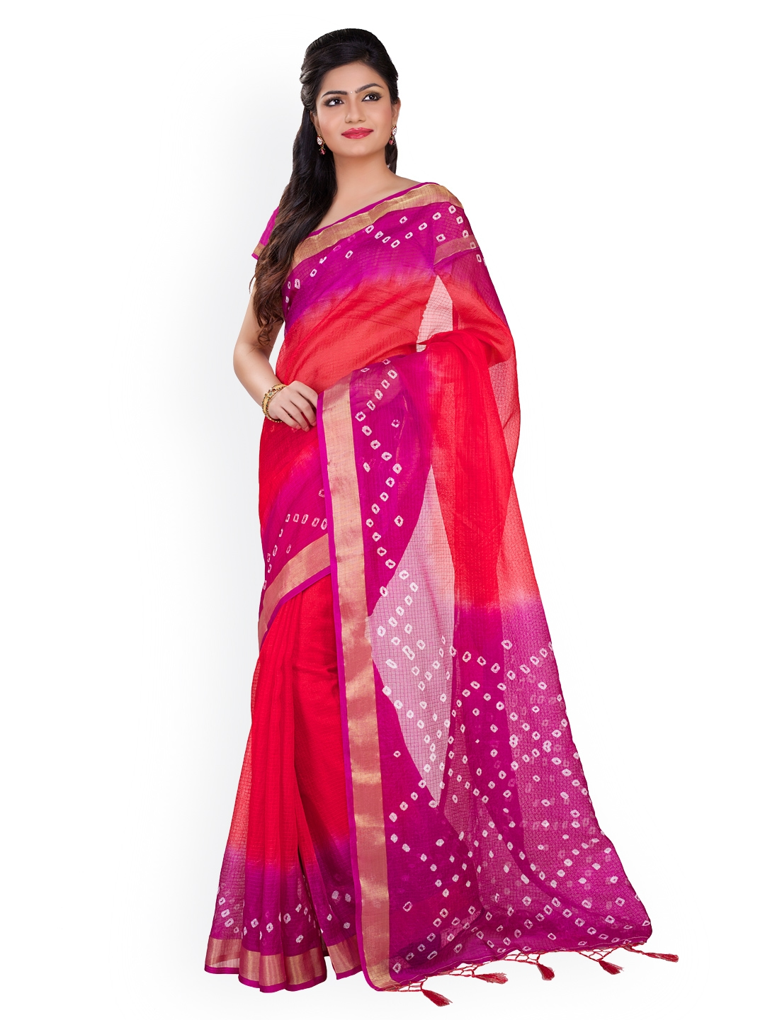 d0102ab16d6 Buy Rajnandini Red   Purple Kota Silk   Cotton Bandhani Print Saree ...