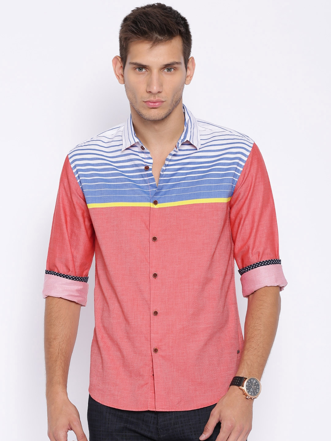 Locomotive Coral Red   Blue Striped Casual Shirt