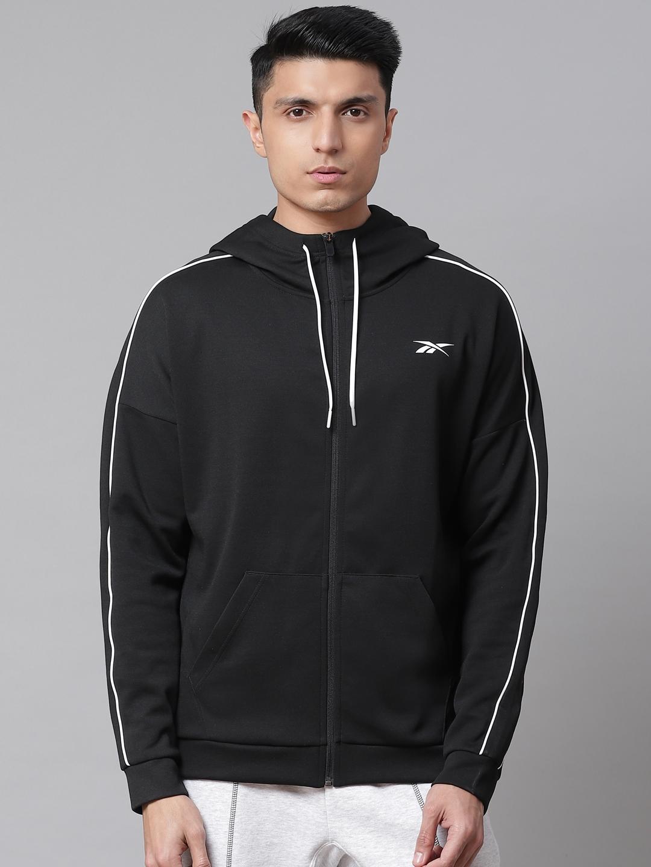 Reebok Men Black Workout Ready Doubble Knit Full Zip Lightweigth Solid Hooded Jacket