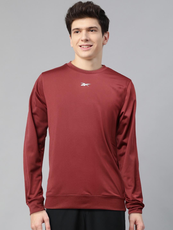 Reebok Men Rust Red Solid Foundation Training Sweatshirt