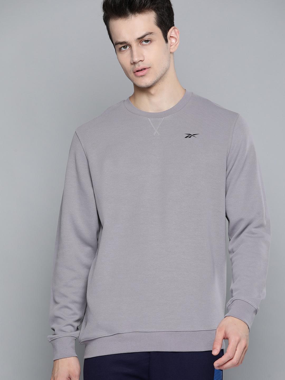 Reebok Men Grey Solid Training Workout Sweatshirt