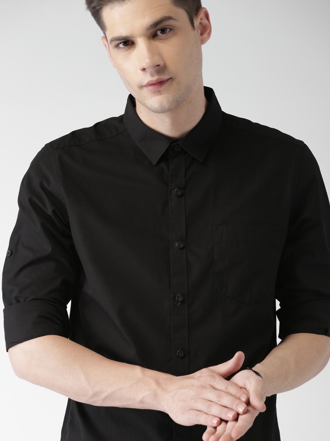 Highlander Black Solid Slim Fit Casual Shirt