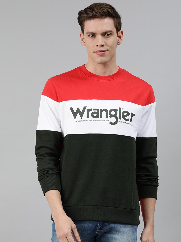 Wrangler Men Olive Green   White Colourblocked Sweatshirt