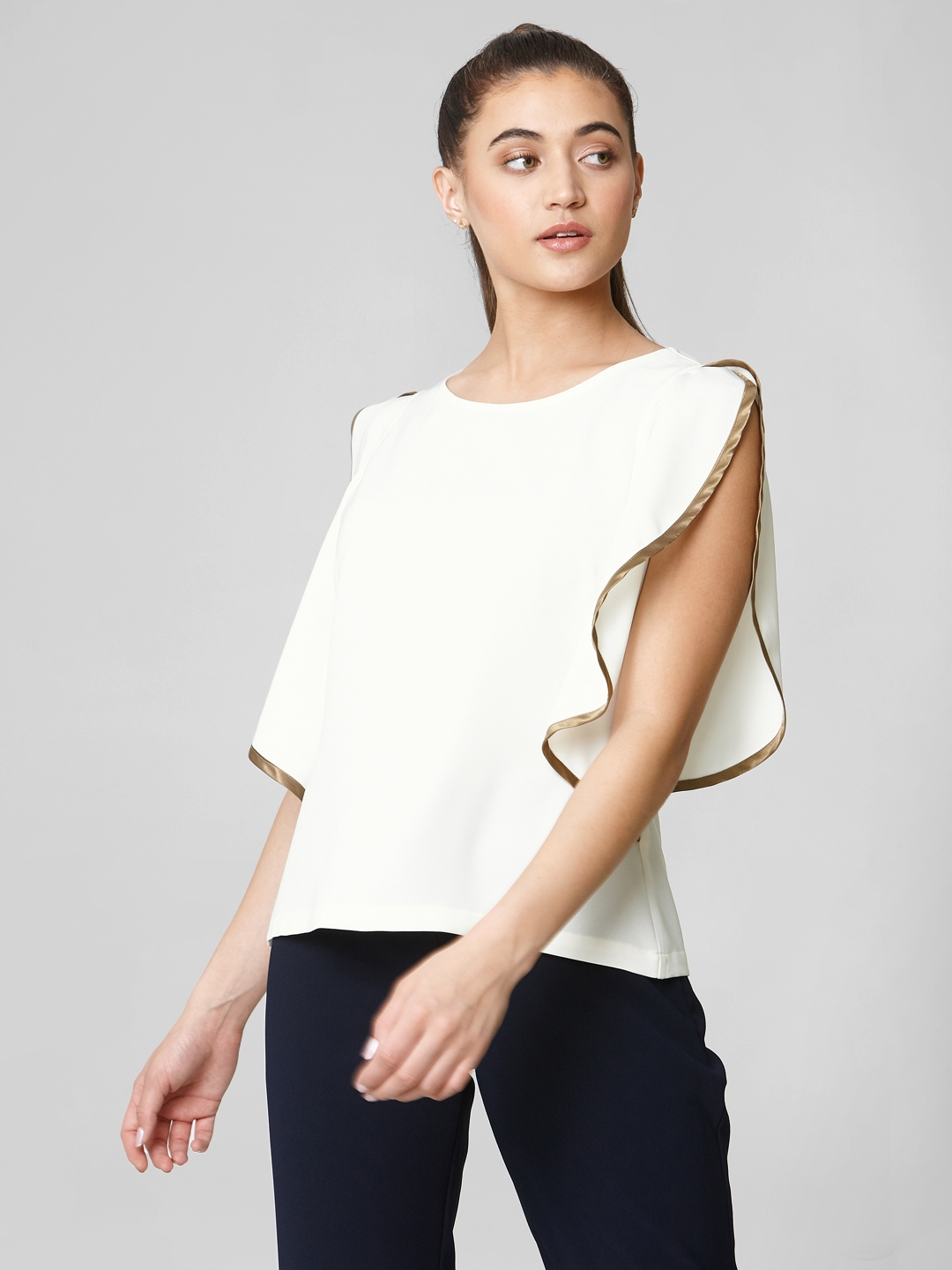 Vero Moda Women White Solid Top With Slit Sleeves