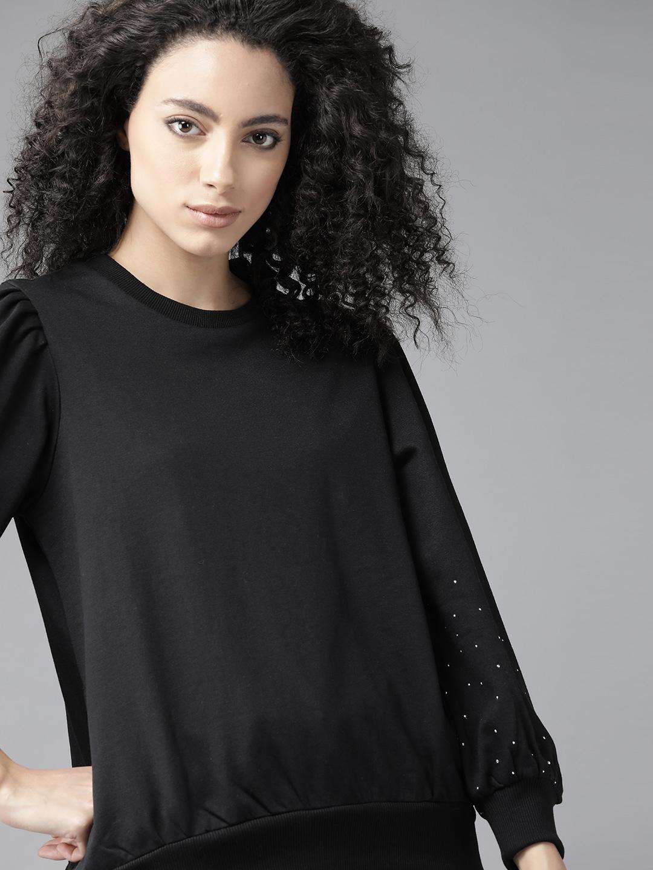 Roadster Women Black Solid Puff Sleeves Sweatshirt