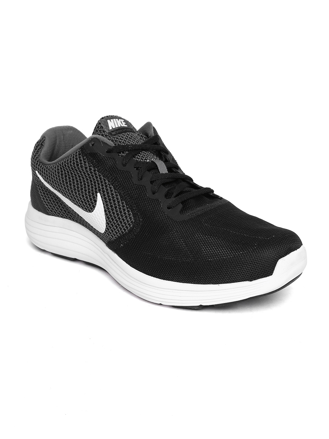 newest 033ab 73f10 Nike Men Back & Grey Revolution 3 Running Shoes