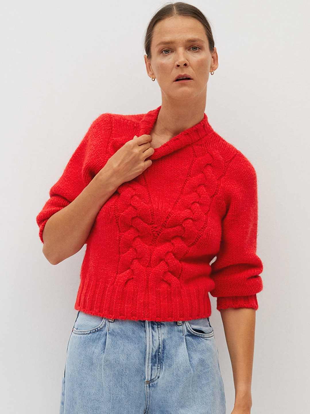 MANGO Women Red Cable Knit Self Design Pullover